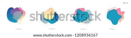 Set of abstract modern graphic elements. Dynamical colored forms and line. Gradient abstract banners with flowing liquid shapes. Template for the design of a logo,flyer or presentation. Vector. #1208936167