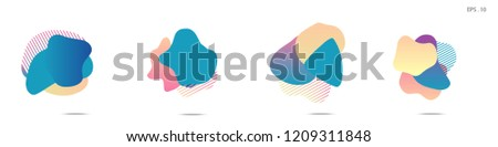 Set of abstract modern graphic elements. Dynamical colored forms and line. Gradient abstract banners with flowing liquid shapes. Template for the design of a logo,flyer or presentation. Vector fluid. #1209311848