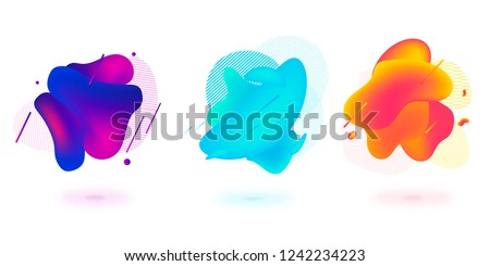 Set of abstract modern graphic elements. Dynamical colored forms and line. Gradient abstract banners with flowing liquid shapes. Template for the design of a logo, flyer or presentation. #1242234223