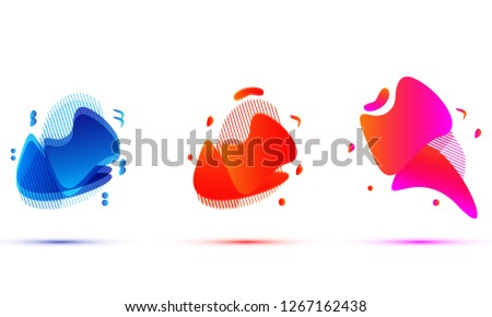 Set of abstract modern graphic elements. Dynamical colored forms and line. Gradient abstract banners with flowing liquid shapes. Template for the design. Vector illustration #1267162438