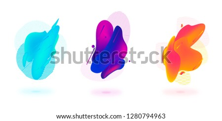 Set of abstract modern graphic elements. Dynamical colored forms and line. Gradient abstract banners with flowing liquid shapes. Template for the design of a logo, flyer or presentation. #1280794963