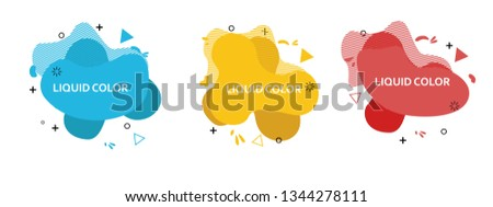 Set of abstract modern graphic elements. Dynamical colored forms and line. Gradient abstract banners with flowing liquid shapes. Template for the design of a logo, flyer or presentation. Vector 10 EPS