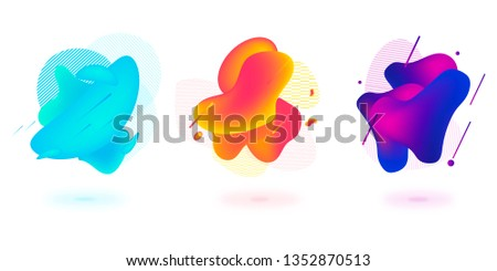 Set of abstract modern graphic elements. Dynamical colored forms and line. Gradient abstract banners with flowing liquid shapes. Template for the design of a logo, flyer or presentation. #1352870513