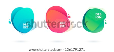Set of abstract modern graphic elements. Dynamical colored forms and line. Gradient abstract banners with flowing liquid shapes. Template for the design of a logo, flyer or presentation. Vector. stock photo