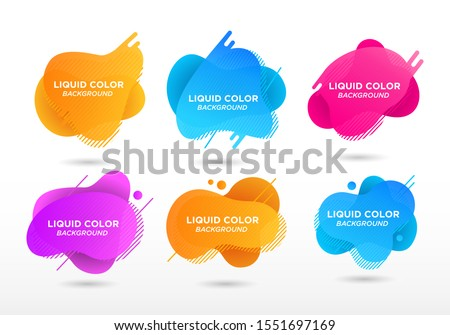 Set of abstract modern graphic elements. Flat geometric liquid form with gradient colors. Modern vector template, template for the design of a logo, flyer or presentation. - Vector
