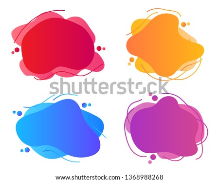 Set of abstract modern graphic elements with dynamical colored forms and line. Template for the design of a logo, flyer or presentation.
