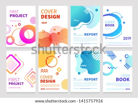 Set of abstract modern graphic elements with dynamical colored forms and line. Template for the design of a logo, flyer or presentation or Cover Books Template