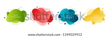 Set of 4 abstract modern graphic liquid elements. Dynamical waves different colored fluid forms. Isolated banners with flowing liquid shapes. Template for the design of a logo, flyer or presentation.