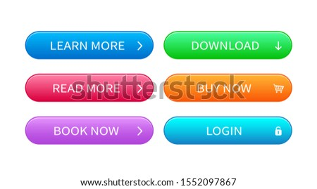 Set of abstract modern interface buttons. Ready template of vector buttons of different colors for web design, ui, game, application concept and software.