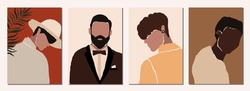 Set of abstract modern man people faces portraits artistic trendy background templates posters cards. Trendy art minimal background poster wall art print. Vector illustration in hand drawn flat style
