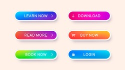 Set of abstract modern web buttons. Ready template of vector buttons of different colors for web design isolated on light background.