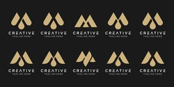 Set of abstract monogram initial M logo template. icons for business of fashion, sport, luxury.