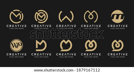 Set of abstract monogram letter M W D logo template. icons for business of fashion, talk, technology, simple. Foto stock ©