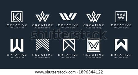Set of abstract monogram letter W logo template. icons for business of fashion, sport, automotive, simple. Zdjęcia stock ©