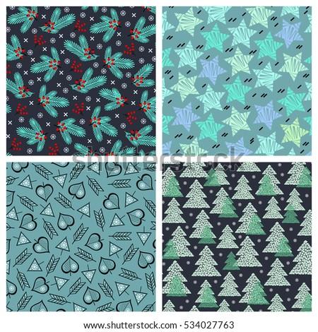 set of 4 abstract mosaic winter