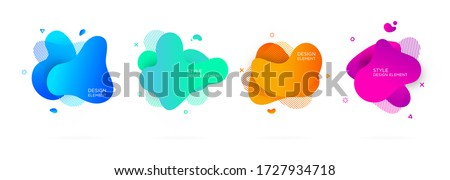 Set of abstract multicoloured modern graphic elements. Dynamical forms and line. Gradient abstract banners with flowing liquid shapes. Template for  design of a logo, presentation or flyer.Vector