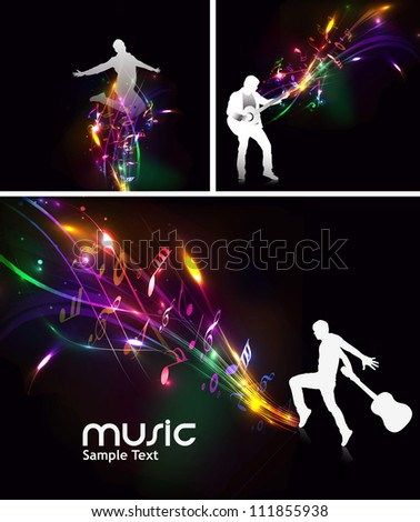set of abstract music dance background for music event design.