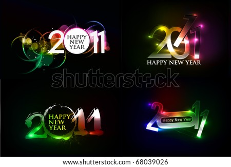 set of abstract new year 2011 colorful design. Vector illustration