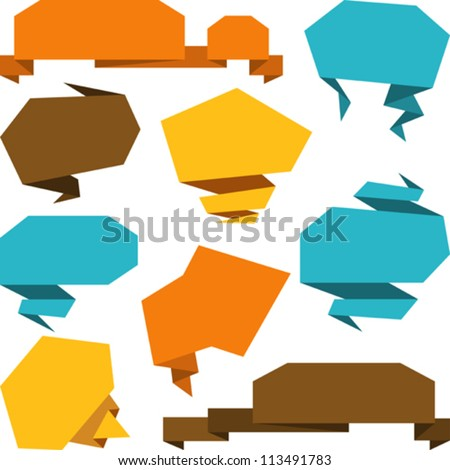 Set of abstract origami speech bubble vector background.