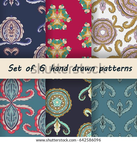 set of 6 abstract ornamental