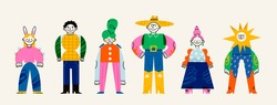 Set of Abstract people. Cute disproportionate characters. Various bright colorful clothes. Different textures. Hand drawn Vector illustration. Every person is isolated