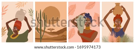 Set of abstract posters with African woman in turban,  ceramic vase and jugs, plants, abstract shapes and landscape. Background in minimalistic style. Vector illustration