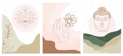 Set of abstract posters with elements of buddhism and hinduism, plants in one line style. Background mminimalistic style. Vector illustration.