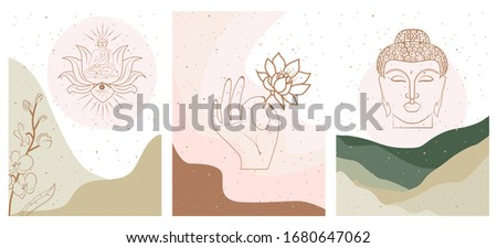 Set of abstract posters with elements of buddhism and hinduism, plants in one line style. Background mminimalistic style. Vector illustration. Stockfoto ©