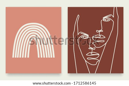 Set of 2 Abstract Prints. One Line Art Face Sketch Printable. Mid Century Modern Minimalist Art Original Artwork. Digital Wall Art. Vector EPS 10.
