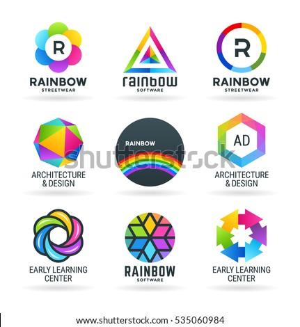 Set of abstract rainbow symbols