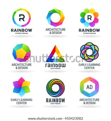 Set of abstract rainbow symbols and colorful logo design elements (1)