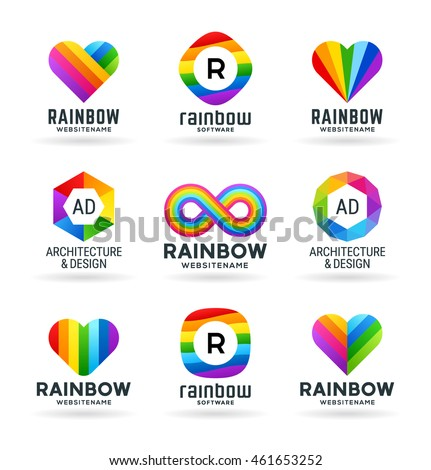 Set of abstract rainbow symbols and colorful logo design elements (3)