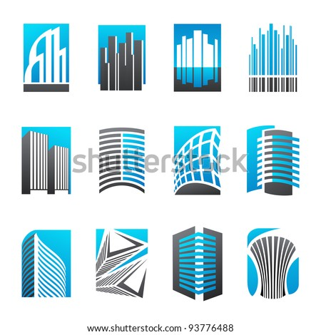 Set of abstract real estate icons illustrating modern architecture. Vector illustration.