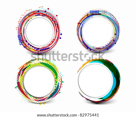 Set of abstract retro technology circles vector background.