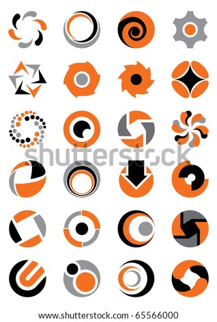 Set of abstract round icons.