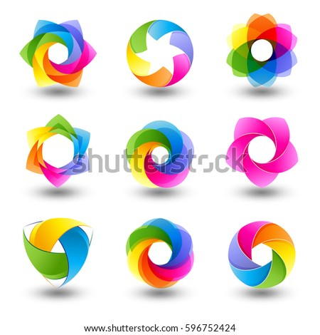Set of abstract round vector design element, Sphere Icons, Isolated On White Background