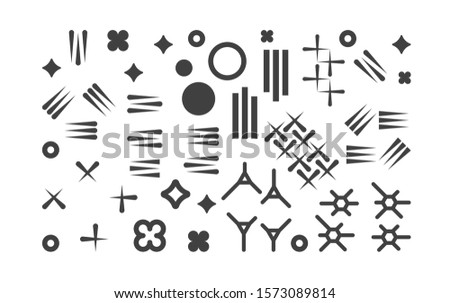 Set of abstract 1980s fashion vector elements for memphis design. Modern graphic shapes collection for trendy patterns. Trendy geometric hipster simple elements illustration