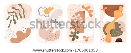 Set of abstract scandinavian art poster with minimalistic beige shape, blot, coral, leaf. Wall art for home decoration, stylish design element. Flat vector illustration isolated on white background