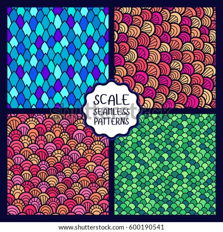 Set of abstract seamless patterns. Seamless pattern of hand drawn scale. Graphic ornament. Reptile skin texture.
