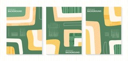 Set of abstract shapes green field from aerial view. Minimalist summer field landscape poster collection. Rural view, grunge texture. Design elements for social media post, banner, card, background