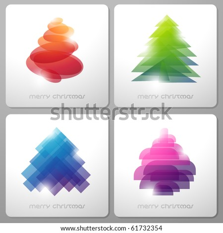 Set of abstract shiny christmas trees. Vector illustration.
