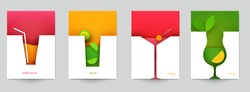 Set of abstract silhouette cocktails with alcohol or juice in minimalistic geometric flat style. Creative colorful composition. Concept for branding menu, cover, flyer, banner. Vector illustration.