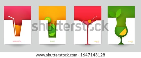 set of abstract silhouette