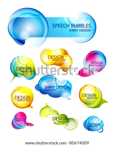 Set of abstract speech bubbles