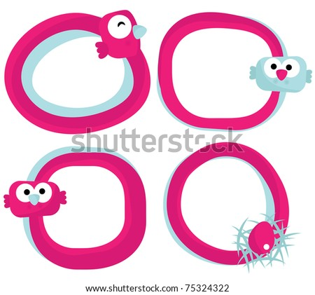 Set of abstract speech bubbles with birds, vector