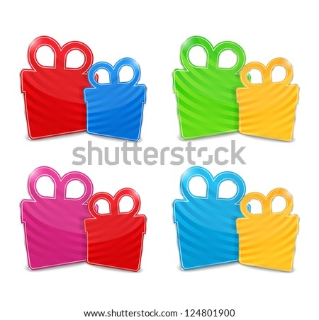 Set of abstract striped gift boxes, vector eps10 illustration