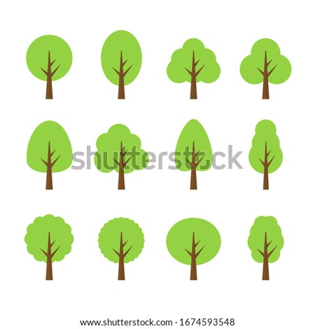 Set of abstract stylized trees. Natural illustration. ストックフォト ©