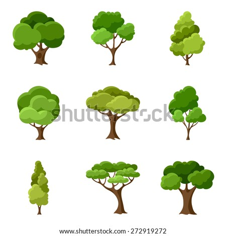 Shutterstock Set of abstract stylized trees. Natural illustration.
