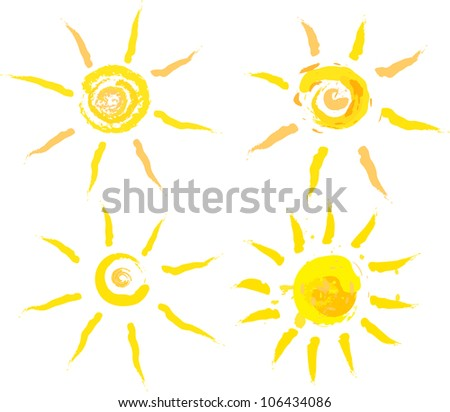 set of abstract summer suns