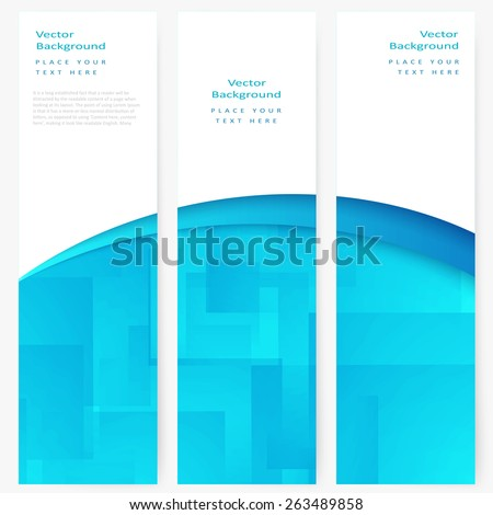 Set of abstract template vertical banner with white and turquoise transparent rectangles